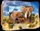 Объемная картинка Слоны на прогулке